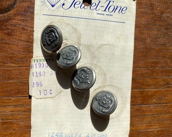 Set of Seven Vintage Textured Pattern Silver Metal Shiny Buttons B1036