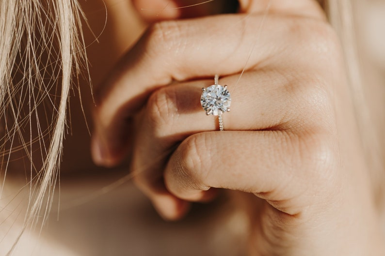 Round Cubic Zirconia Engagement Ring CZ Engagement Ring Silver image 0