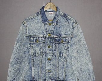 Vintage Guess Jeans Acid Stone Washed Denim Jean Jacket Great Condition 80's