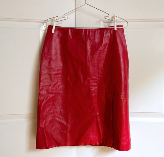 Vintage Red Leather Skirt / Kenneth Cole 90s Fashi