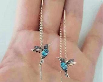 Handmade Hummingbird Drop Earrings, Long Drop Earrings, Bird Pendant, Kingfisher Earring, Crystal Pendant Earrings, Ladies Jewellery