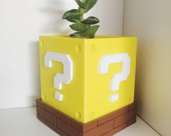 Mario Question Block Plant Pot with Drain Holes (Mystery Block)