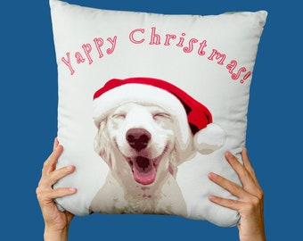 Yappy Christmas Cushion, Christmas Decor, Cushion Covers UK, Festive Gifts, Dog Lover Gift, Pillow Cover, Xmas Gifts, Xmas Eve Box Fillers