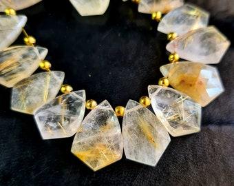 """Natural Gem Copper Rutile Quartz 7MM Size Faceted Heart Shape Briolette Beads 6/"""""""
