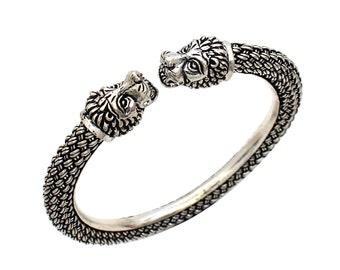 21 Antique Bracelet-  KCB Bohemian Angry Lion Face Handmade Bracelet Oxidized Bracelet Length-8 Inches 925 Solid Sterling Silver
