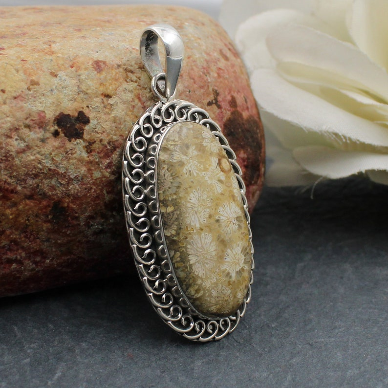 Gift for friend New Designer 925 Sterling Silver Fossil Agate pendant-Handmade Silver Pendant Oval Shape