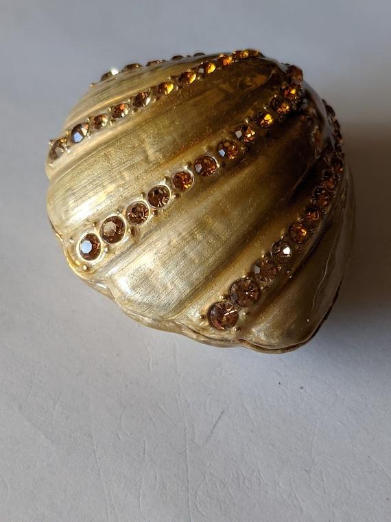 Swarowski Jere Clam Shell Enameled Bejewelled Trinket Jewelry Box