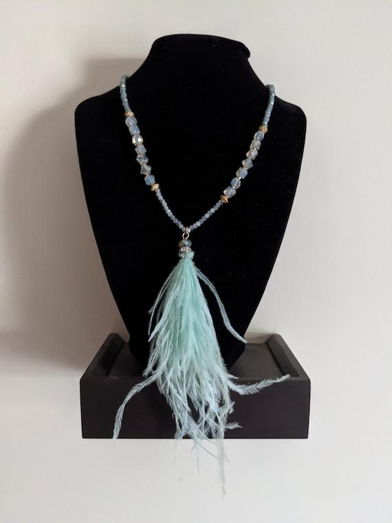 Aurora Borealis Stone Lariat with Marabou Feather