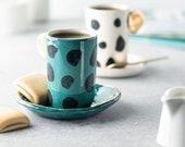 PolkaDotGreen handmade ceramic coffee cup, handmade coffee tea mug, turkish coffee cup, espresso cup, coffee, gift ideas, gift for her him