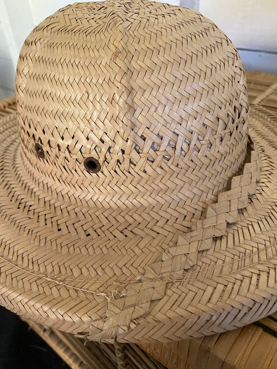 Vintage 1970's Handmade Explorer Safari Straw Hat… - image 6