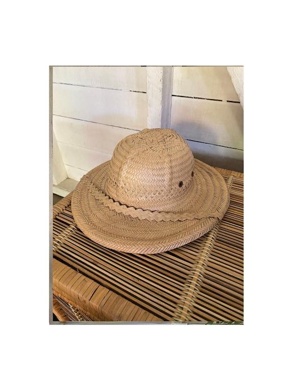 Vintage 1970's Handmade Explorer Safari Straw Hat,