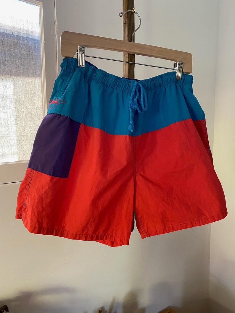 California Elasticated Waistband Summer American Vintage Clothing Beach Vintage 1990\u2019s Color Block Hobie Swim Shorts Party