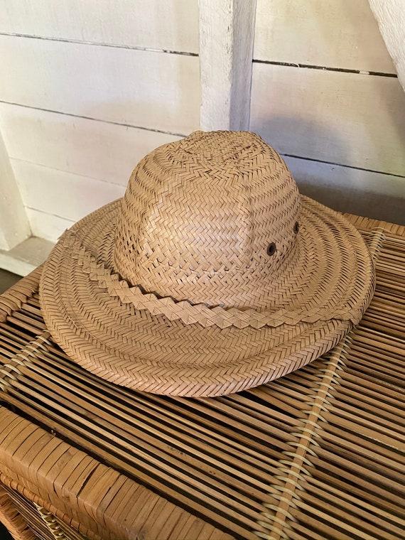 Vintage 1970's Handmade Explorer Safari Straw Hat… - image 2