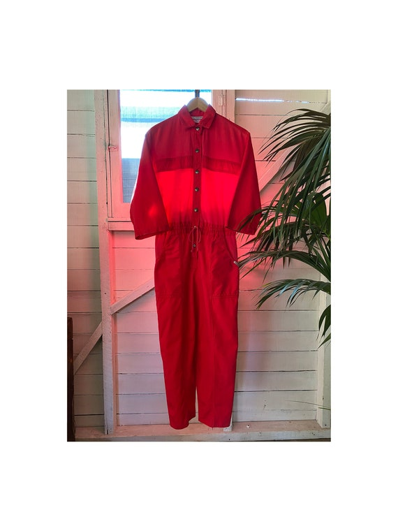 Vintage 1980's 3/4 Sleeve Red Jumpsuit Coveralls F