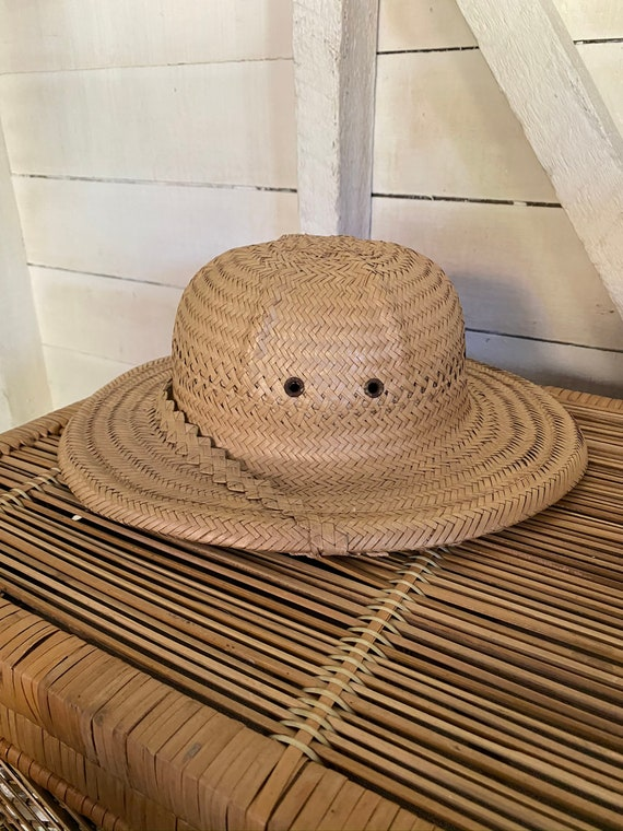 Vintage 1970's Handmade Explorer Safari Straw Hat… - image 3
