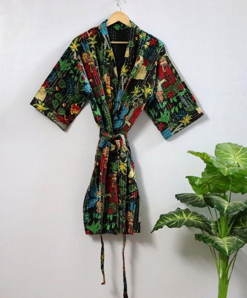 Frida kahlo kantha jacket Indian handmade Japanese kimono style kantha robe winter jacket Pink colored tie belt coat