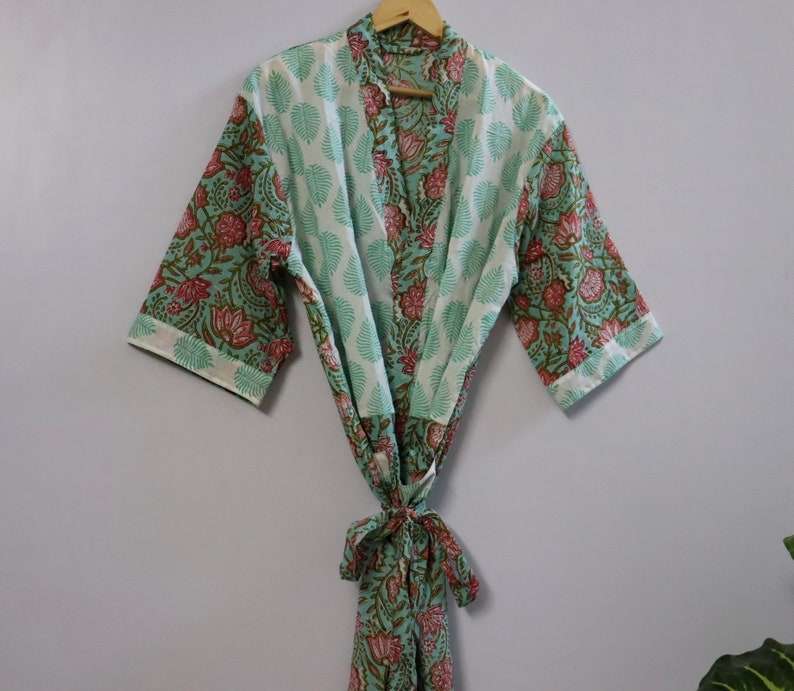 Indian floral Print Dress Women Wear Hand block Cotton Kimono robes Bridesmaid Kimono Patchwork Handmade Bridal kimono EXPRESS SHIPPING