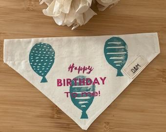 Dog birthday bandana, earth friendly fabric, eco conscious brand, avoid fast fashion dog wear, ethical, sustainable production