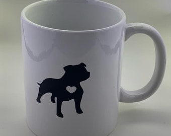 Staffordshire Bull Terrier mug, personalized with your coffee/tea preference, bull terrier, coffee mug, dog lover gift, dog breed gift,