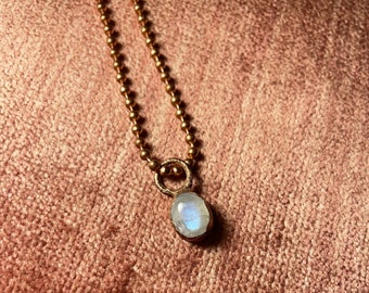 Moonstone Necklace  Moonstone Charm Necklace  Dainty Moonstone Pendant  Moonstone Charm  Electroformed Moonstone Necklace  Moonstone Crystal