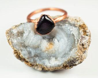 Red Garnet Ring   Deep Red Garnet Crystal Ring   Dainty Garnet Gemstone Ring   January Birthstone Ring   Polished Deep Red Garnet Ring  