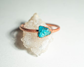 Turquoise Ring   Unique Raw Turquoise Ring   Dainty Turquoise Ring   Minimalist Turquoise Ring   December Birthstone Ring   Raw Crystal Ring