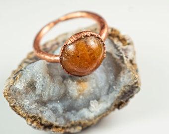 Caramel Quartz Ring   Unique Orange Quartz Ring   Circular Quartz Ring   Quartz Gemstone Statement Ring   Orange Quartz Ring  