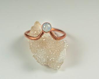 Moonstone Chevron Ring   Moonstone Minimalist Ring   Moonstone Crystal Ring   Delicate Gemstone Ring   Unique Moonstone Crystal Chevron Ring
