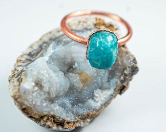 Amazonite Ring   Unique Amazonite Gemstone Ring   Raw Blue Amazonite Ring   Faceted Amazonite Ring   Raw Amazonite Copper Ring  