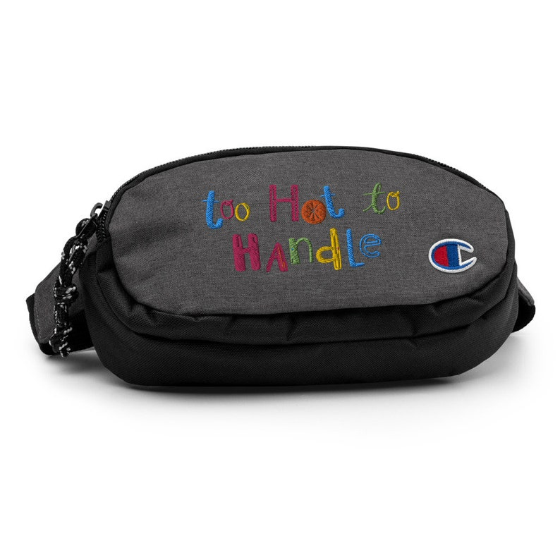 Embroidered Crossbody Purse Funny Saying Trendy Bag Gifts for Sportive Girls Too Hot To Handle Champion Crossbody Fanny Pack Bag For Her