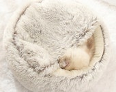 Cat Dog Bed, Pet Kennel Round House, Fluffy Chunky Plush Cave, Warm, Calming Anti-Anxiety, Cozy Nest, Washable, Pet gift