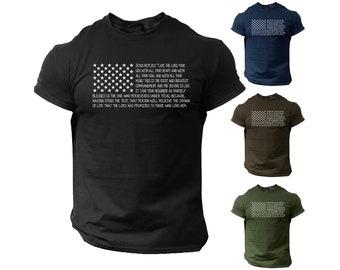 Bible T Shirt Men's USA Flag American Christian Bible Verse Gift Shirt   100% Cotton