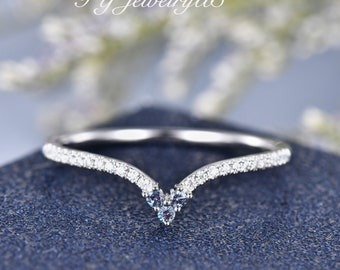 Diamond Curved V Wedding Band V Shaped Alexandrite Wedding Ring Crown Moissanite Matching Stacking Ring Birthstone Jewelry Anniversary Gift