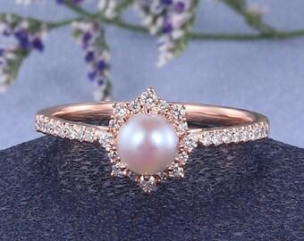 Pearl engagement ring Rose gold Pink Akoya Pearl Ring Women Natural diamond halo wedding ring June birthstone Half eternity-Main ring only