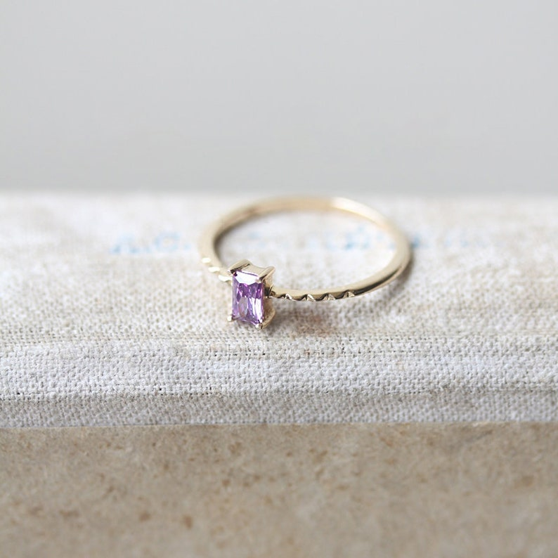 Amethyst Engagement Ring Yellow Gold February Birthstone Ring Solitaire Natural Amethyst Ring Emerald Cut Plain Band