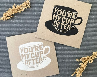 You're My Cup of Tea Lino Print Card, Hand Printed UK, Anniversary Card, Thank you Card, Blank Note Card, Handmade Card for Tea Lover