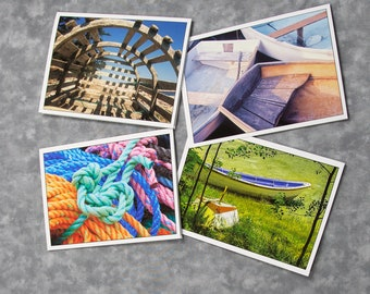 Summer Boats Set of Four Different Images/Blank Photo Greeting Cards/Nostalgic Summer Memories/Soft Matte Excellent for Writing Notes