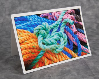 Knots and Loops/Lobster Rope Used to Secure Lobster Traps/Monhegan Island Maine/Blank Greeting Card/Soft Matte Paper Nice for Writing Notes