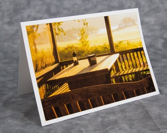 Picnic/Screened Gazebo in Late Afternoon Golden Sunlight/Blank Greeting Card/Soft Matte Paper Excellent for Writing Notes