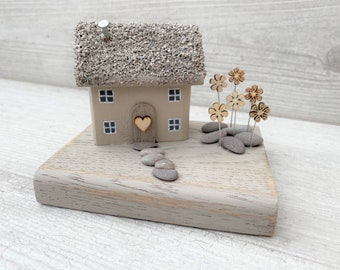 Little wooden house, little cottage, cute, hearts, love, handmade, wooden cottage, special gift, gift for loved one, new home,