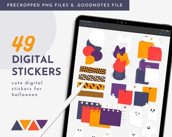 Halloween Digital Stickers For GoodNotes, Notability, Noteshelf, Kawaii Digital Planner Stickers, Cute Washi Tape & Sticky Notes