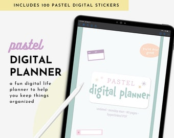 Undated Digital Planner for iPad, GoodNotes, Notability, Noteshelf, Includes Digital Stickers, Vertical Layout, Pastel Digital Journal