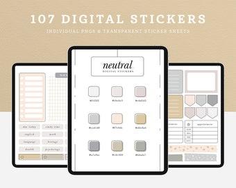 Neutral Digital Stickers for iPad/Tablet, GoodNotes, Notability, Noteshelf, Minimal Digital Planner Stickers, Cute Digital Sticker Set