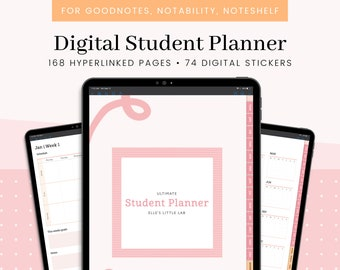 Digital Student Planner For iPad/Tablet, GoodNotes, Notability, Undated Academic Digital Journal With Hyperlinked Tabs For College Students