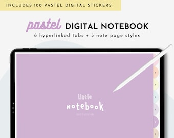 Pastel Digital Notebook With 8 Hyperlinked Tabs & Digital Stickers,For GoodNotes, Notability, Noteshelf, Digital Journal For School