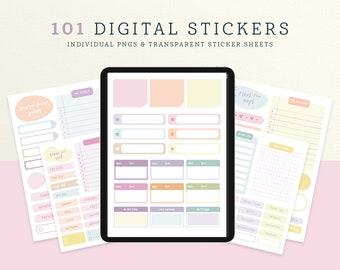Pastel Digital Stickers for iPad/Tablet, GoodNotes, Notability, Noteshelf, Cute Digital Sticker Set, Digital Planner Sticker Pack