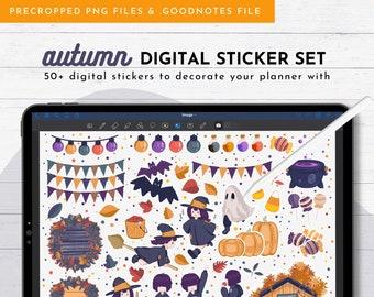 Autumn Digital Sticker Set For GoodNotes, Notability, Noteshelf, iPad/Tablet | Halloween Digital Planner Stickers | Kawaii Stickers For Fall
