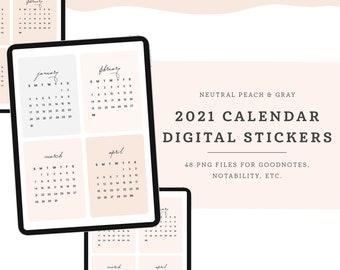 Neutral 2021 Calendar Digital Stickers For GoodNotes, Noteshelf, Notability, iPad/Tablet, Peach & Gray Digital Planner Sticker Pack