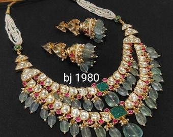 Real pachi kundan Necklace,Rajsathani jewelry,Rajwada Haar,Indian jewelry,Sabyasachi wedding jewelry,wedding set,kundan necklace combo,choke