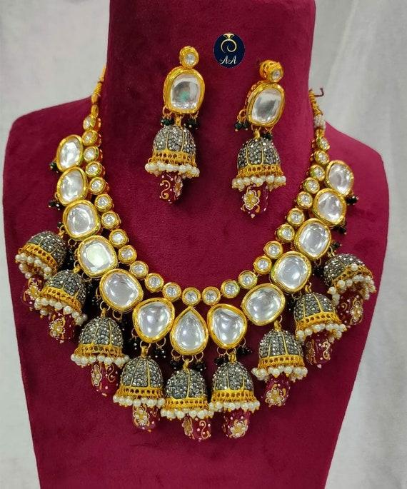 Rajwada haar Kundan Necklace Indian Jewelry Sabyasachi Wedding Rajasthani Jewelry Big Size Hand Painted Onyx Meenakari Kundan Necklace